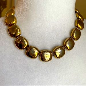 Vintage '80s '90s Chunky Gold Tone Necklace Square